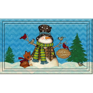 Indoor/ Outdoor Snowman Chevron Doormat (18 x 30)