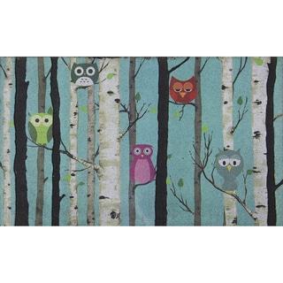 Outdoor Birch Tree Owl Doormat (18 x 30)