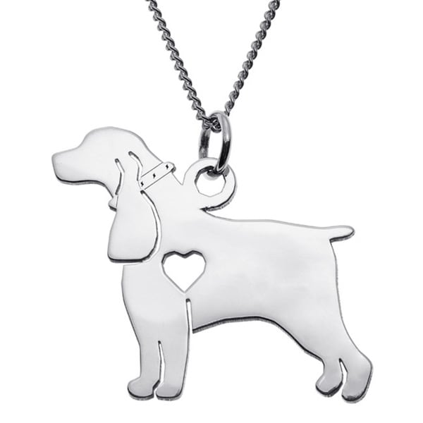 Sterling Silver Cocker Spaniel Dog Silhouette Pendant