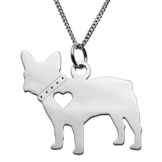 Sterling Silver French Bulldog Dog Silhouette Pendant
