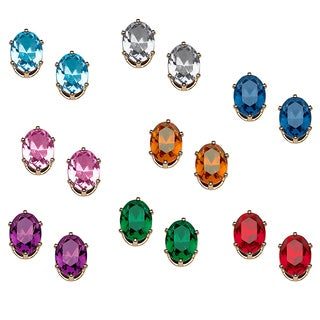 8 Pair Color Crystal Earring Set -Clip