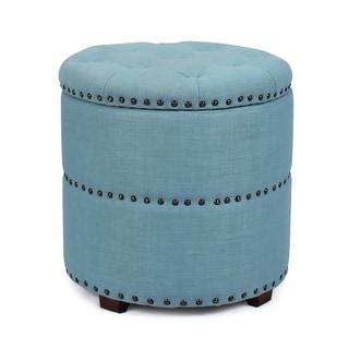Adeco Fabric Round Storage Ottoman