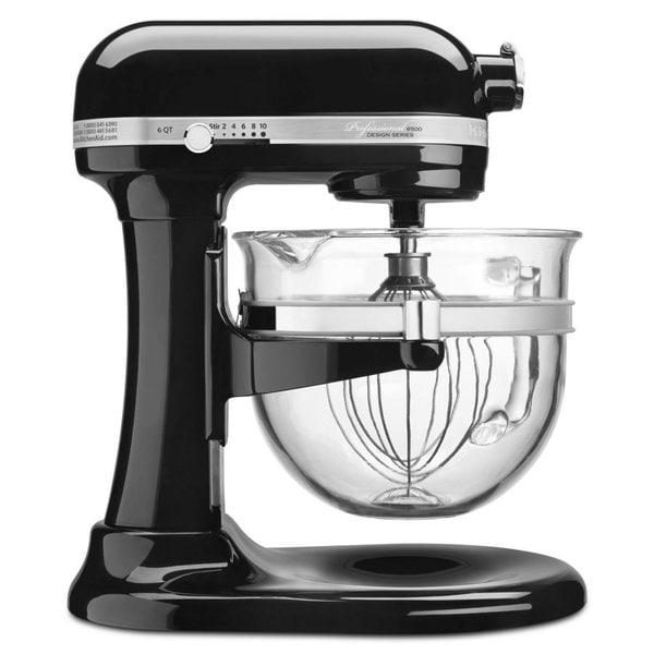 KitchenAid KSM6521XOB Onyx Black Professional 6500 Design Series bowl-lift Stand Mixer with Glass Bowl