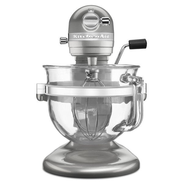 KitchenAid KSM6521XSR Sugar Pearl Silver Professional 6500 Design Series bowl-lift Stand Mixer with Glass Bowl