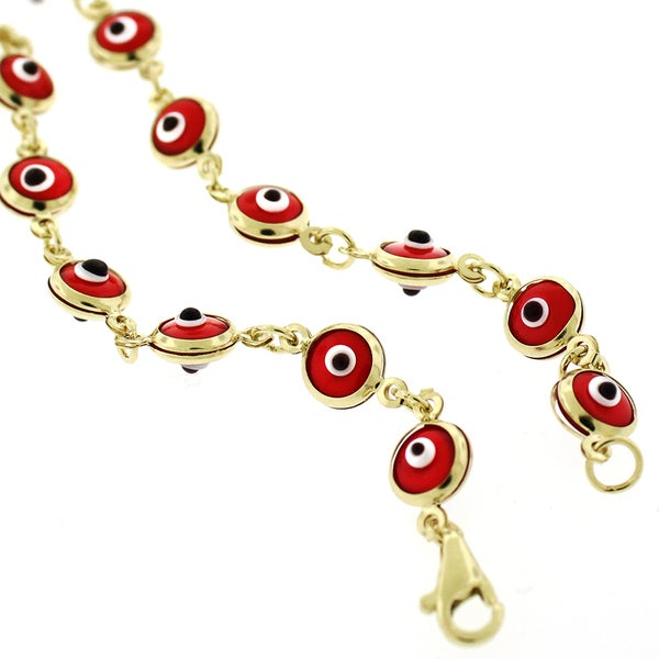 14k Yellow Gold 5.5mm Red Evil Eye Good Luck Bracelet