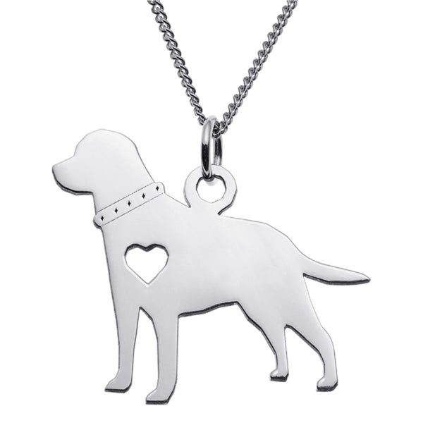 Sterling Silver Labrador Dog Silhouette Pendant