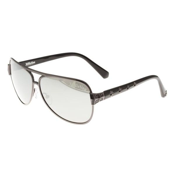 Affliction Unisex Warrior Aviator Sunglasses - S - Grey 16695978