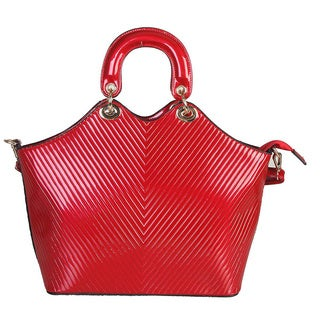 Rimen & Co. Shiny Chevron Metal Clasp Ring Satchel Handbag