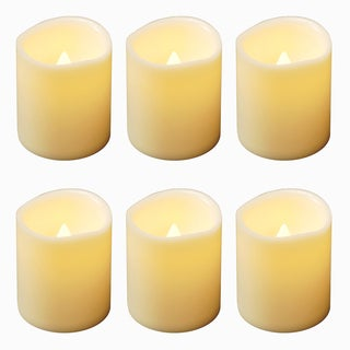 Flickering Mini Pillar Lights - Amber 6 Count