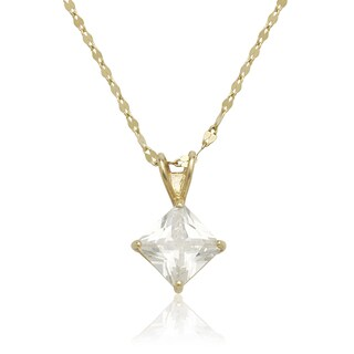 14K Gold 6mm Princess Cubic Zirconia Solitaire Necklace