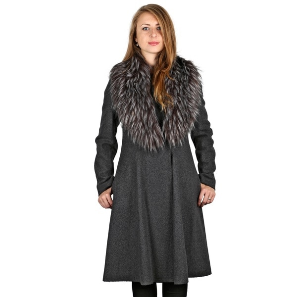 Vera Wang Wool Blend Serena Fit and Flare Coat with Fur Trim (As Is Item)