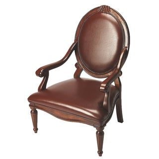 Butler Brown Leather Accent Arm Chair