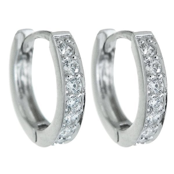 Queenberry Sterling Silver Clear CZ Crystal Ring Huggie Hoop Earwire Earrings