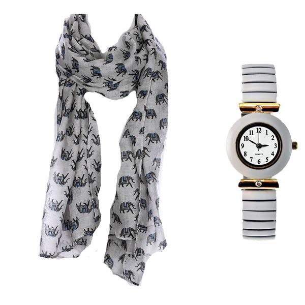 Elephant Print Scarf and White Stretch Band Watch Set