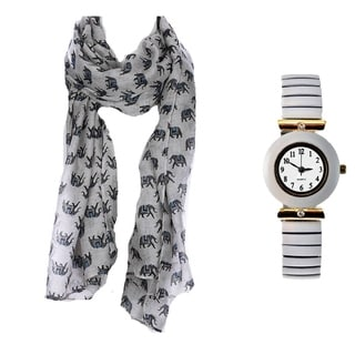 Elephant Print Scarf and White Stretch Band Watch Set