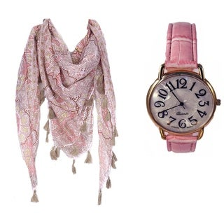 Pink Paisley Print Tassel Scarf and Jumbo Pink Faux Leather Band Watch Set