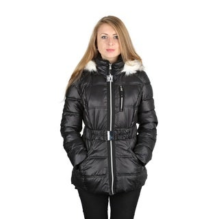 Laundry By Design Woman's Black Belted Puffer Coat