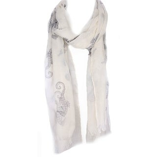 Seahorse Print Oblong Scarf