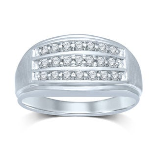 Unending Love 10k White Gold 1/3ct Tw 3 Rows Gents Ring (IJ/I2-I3)