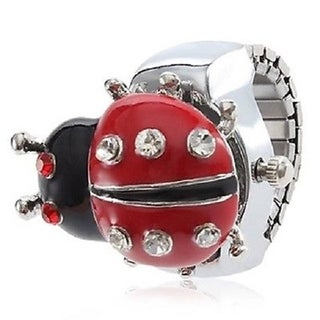 Women's Ladybug Ring Watch with Red and Clear Crystal Accents