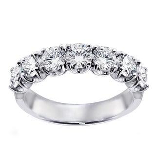 14k/ 18k White Gold 1 1/2ct TDW 7-stone Diamond Wedding Band (G-H, SI1-SI2)