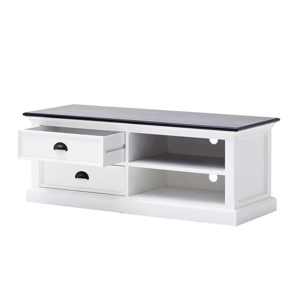 Interior White Distressed Entertainment and TV-Media Stand with two drawers and two open shelves