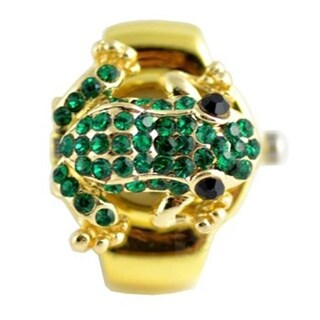 Women's Goldtone Green Crystal Frog Ring Watch with Easy-read Dial