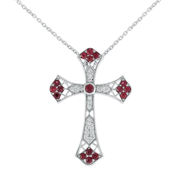 18k 1/4ct TDW Diamond and Ruby Cross Necklace (I-J,SI1-SI2)