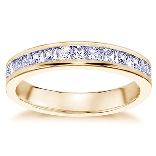 Yellow Gold 3/4ct TDW Princess Cut Diamond Wedding Band in Channel Setting