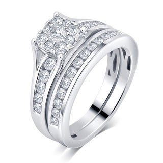 10k White Gold 1ct TDW Diamond Bridal Set Ring (I-J, I2-I3)