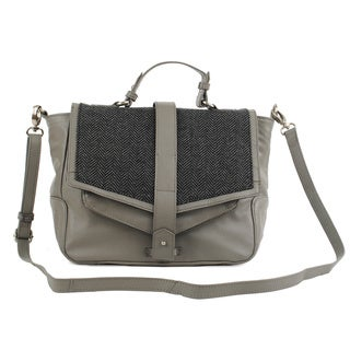 Delmont Leather and Herringbone Messenger Handbag