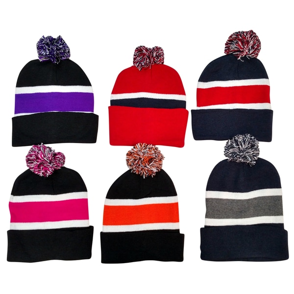 6 Pack Of excell Striped Winter Beanie With Pom Pom