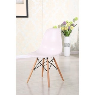 Retro Eames Style Molded Plastic Wood Eiffel Legs Side Chair (Set of 4)
