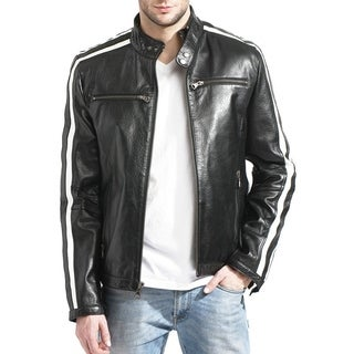 Men's Lamb Leather Moto Racer Jacket