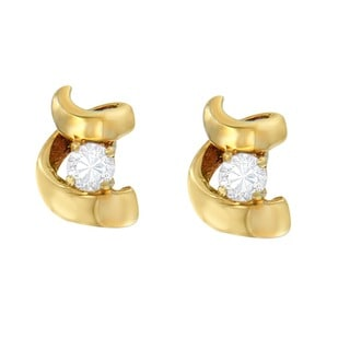 Espira 10k Yellow Gold 1/10 CTTW Round Diamond Twist Earrings (I-J I2-I3)