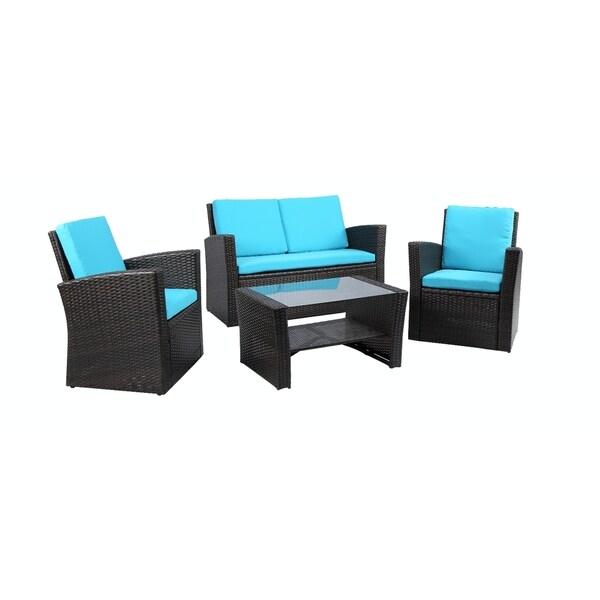 Baner Garden Outdoor Furniture Complete Patio 4 pieces Cushion PE Wicker Rattan Garden Set, Black
