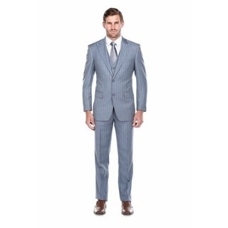 Verno Trolio Men's Blue and Grey Striped Classic Fit Italian-Styled Three-Piece Suit