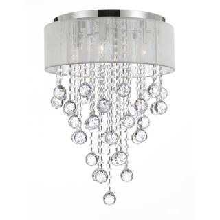 Flush Mount 4 Light Chrome Chandelier with White Shade