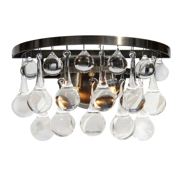 Celeste Glass Drop Wall Sconce, Antique Brass