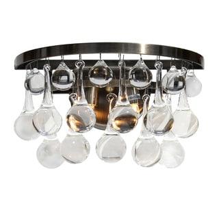 Celeste Glass Drop Wall Sconce, Antique Brass