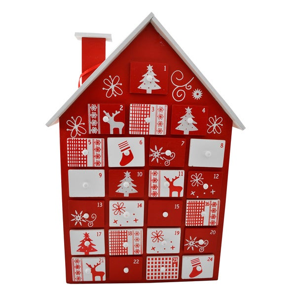 Christmas Advent Calendar Wooden House with Drawers