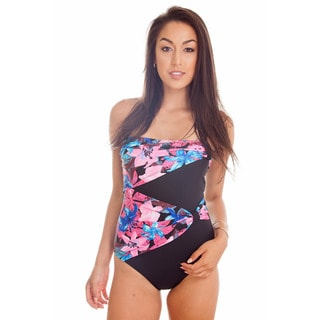 Dippin Daisy's Blue & Pink Draped Overlay Strapless Bandeau One Piece
