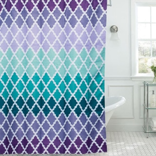 Modern Lattice Print Diamond Texture 13-piece Shower Curtain and Roller Hooks Set