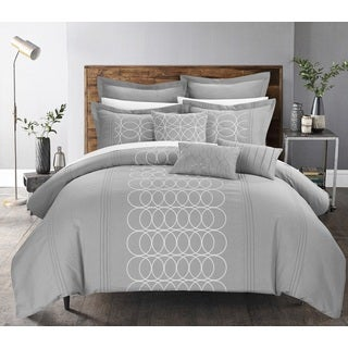 Chic Home Tussard Grey Oversized 8-piece Comforter Set