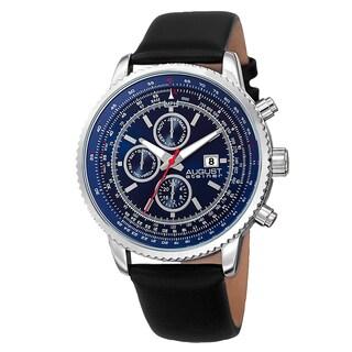 August Steiner Men's Swiss Quartz Multifunction Tachymeter Leather Strap Watch