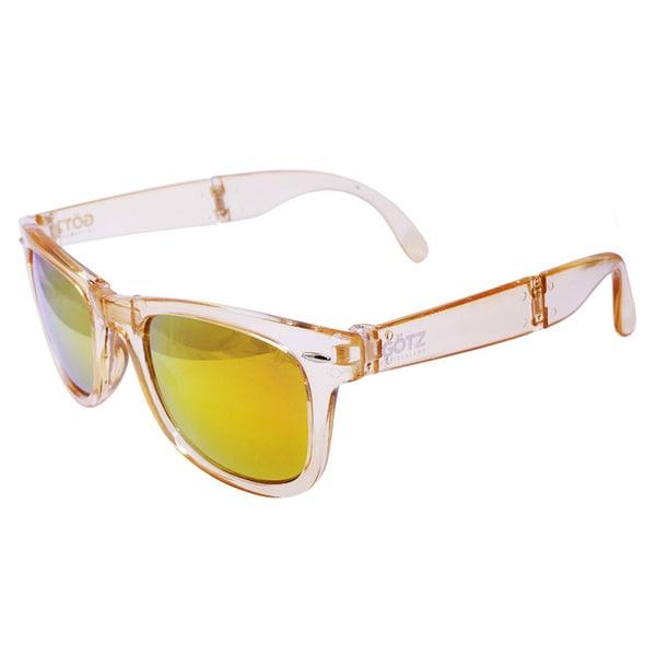 Folding Transparent Champagne Mirror Lens Sunglasses