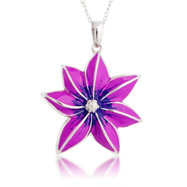 Sterling Silver Purple Enamel Flower Pendant