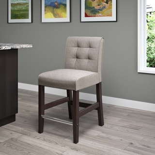 CorLiving Antonio Counter Height Barstool in Grey Tweed Fabric