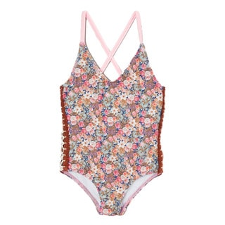 Dippin Daisy's Girl's Brown Floral Crochet Cross-back One Piece Swimsuit