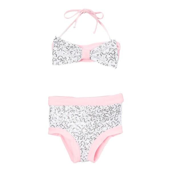 Dippin Daisy's White & Pink Sequin Hi-Waist Bow Bandeau Bikini